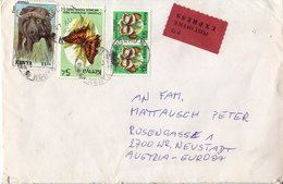 BM602 Kenya Envelope, Kisumu - Wiener Neustadt, 1992, Animals, Express, Mehrfach Frankiert - Kenya (1963-...)