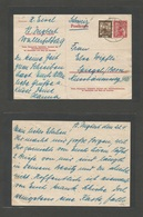 Sarre. 1952 (23 April) Ingbert - Switzerland, Bern. 15p Red Stat Card + 3p Adtl, Cds. VF. - Unclassified