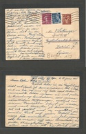 France - Stationary. 1941 (18 June) Lyon - Switzerland, Zurich. 80c. Red / Yellowish Stat Card + 2 Adtls, Rolling Cancel - Francia