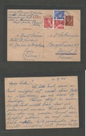 France - Stationary. 1941 (2 Sept) Lyon - Switzerland, Zurich. 80c Red Petain Stat Card + 3 Adtls, Mixed Issues, Cds. Fi - France