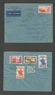 """INDOCHINA. 1940 (7 March) Haboi - Switzerland, Laussane. Air Multifkd Front + Reverse (6 Stamps) + Air Cachet """"Par Avion - Stamps"""