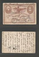 GUATEMALA. 1896 (6 Dec) Zacapa - France, Villemonble (28 Dec) 1c Transit Issue Stat Card. Fine Used Via Pto. Barrios - L - Guatemala