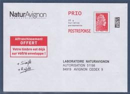 = Entier POSTREPONSE Prioritaire Type Timbre 5253 Marianne L'Engagée Enveloppe 15.5 X 11.1 Cm NaturAvignon Laboratoire - Entiers Postaux