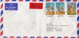 "BM605 Kenya Long Envelope Air Mail, Kisumu - Wiener Neustadt, 1995, Animals, ""Registered""-Stempel Rückseitig - Kenya (1963-...)"