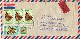"BM607 Kenya Long Envelope Air Mail, Kisumu - Wiener Neustadt, 1995, Animals, Vignette ""Post Office Express"" - Kenya (1963-...)"