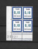 Timbres Fictifs - Taxe 0,10 Sans Valeur - Coin Daté - Fictifs