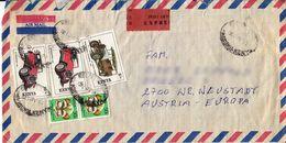 BM608 Kenya Long Envelope Air Mail, Kisumu - Wiener Neustadt, 1992, Registered-Stempel, Mehrfach Frankiert - Kenya (1963-...)