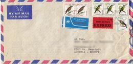 BM609 Kenya Long Envelope Air Mail, Kisumu - Wiener Neustadt, 1994, Registered, Birds, Mehrfach Frankiert, Express - Kenya (1963-...)