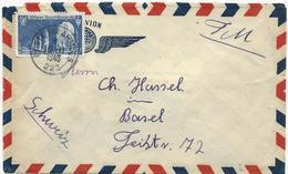 LETTRE 1949 POUR LA SUISSE AVEC TIMBRE A 25 FR SAINT WANDRILLE ET CACHET POSTE AUX ARMEES 222 - Poststempel (Briefe)