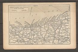 CARTE TOPOGRAPHIQUE 1923 PLAGES MER DU NORD ROUTES D'EXCURSION ROUTES CARROSSABLES - Carte Topografiche