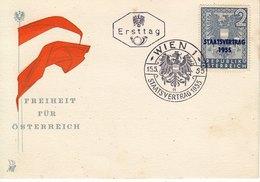 BM618 Österreich FDC Ersttag ANK 1026, Sonderstempel Wien 1, Staatsvertrag 1955, 15.5.1955 - FDC