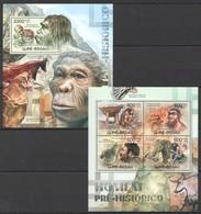 R217 2012 GUINE GUINEA-BISSAU FAUNA ANIMALS HOMEM PRE-HISTORICO 1KB+1BL MNH - Prehistory