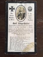 Sterbebild Wk1 Bidprentje Avis Décès Deathcard IR20 MENNEVRET Block 1 Grab 451 April 1918 Aus Niederheining - 1914-18