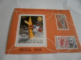 Miniature Sheet Perf Seoul Olympics Kayak - Niger (1960-...)