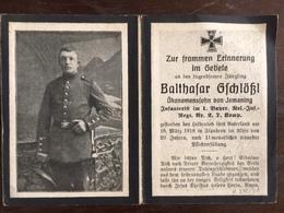 Sterbebild Wk1 Bidprentje Avis Décès Deathcard RIR1 FLANDERN März 1918 Aus Ismaning - 1914-18