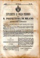 B 2537  -  Supplemento Al Foglio Periodico Della R. Prefettura Di Milano. Annunzi Legali, 1877 - Decreti & Leggi
