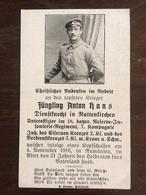 Sterbebild Wk1 Bidprentje Avis Décès Deathcard RIR18 November 1916 Rumänien Aus Rattenkirchen - 1914-18