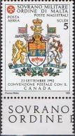 PIA - SMOM - 1993 : Convenzione Postale Con Il Canada - (SAS  P.A.  47/I) - Malte (Ordre De)