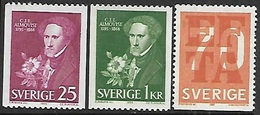 Sweden  1966-7  Sc#707-8, 718  3 Diff  MNH  2016 Scott Value $3.60 - Sweden