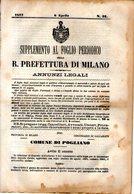B 2538  -  Supplemento Al Foglio Periodico Della R. Prefettura Di Milano. Annunzi Legali, 1877 - Decreti & Leggi
