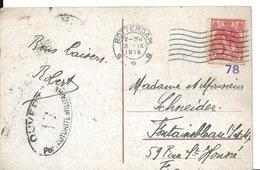 Guerre 14 18 Censure Au Départ De ROTTERDAM Pays Bas CENSURE 17 Pour FONTAINEBLEAU 23.9.1916  ...G - Postmark Collection (Covers)