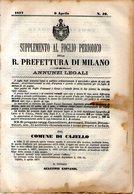 B 2539  -  Supplemento Al Foglio Periodico Della R. Prefettura Di Milano. Annunzi Legali, 1877 - Decreti & Leggi