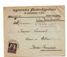 "Montevideo Pour Orthez. Por Vapor ""Regina Margherita"". Zapateria Franco Espanola .1906. - Uruguay"