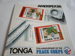Miniature Sheet Imperf Ameripex 86 25th Anniversary Peace Corps - Tonga (1970-...)