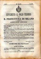 B 2541  -  Supplemento Al Foglio Periodico Della R. Prefettura Di Milano. Annunzi Legali, 1877 - Decreti & Leggi
