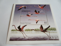 Miniature Sheet Perf Roseate Flamingos - Dominica (1978-...)