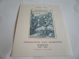 Miniature Sheet Perf Ribera Adoration Of The Shepherds - Rwanda