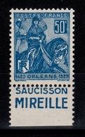 Publicite - YV 257 N** Saucisson Mireille , Variete : Empreinte Couleur Du Carnet Au Verso - Advertising