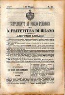 B 2542  -  Supplemento Al Foglio Periodico Della R. Prefettura Di Milano. Annunzi Legali, 1877 - Decreti & Leggi