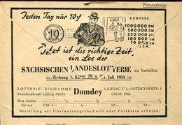 45041 Germany Ddr, Cover Post Sch A Dresden,1953,privatanzeige,sachsischen Landeslotterie, See 2 Scan - Privatumschläge - Gebraucht