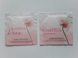 """YVES  ROCHER   """" Evidence """"   2 Pochettes Parfumées ! - Perfume Cards"""