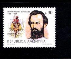 771318989 1985 SCOTT 1493 POSTFRIS  MINT NEVER HINGED EINWANDFREI  (XX) -  GEN MARTIN MIGUEL DE GUEMES - Neufs
