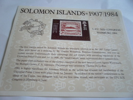 Miniature Sheet Perf Upu 1984 Hamburg - Solomon Islands (1978-...)