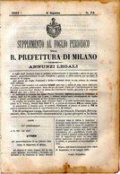B 2543  -  Supplemento Al Foglio Periodico Della R. Prefettura Di Milano. Annunzi Legali, 1877 - Decreti & Leggi