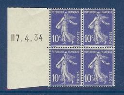 N° 279 SEMEUSE COIN DATE A GAUCHE DU 07/04/34 ** - 1930-1939