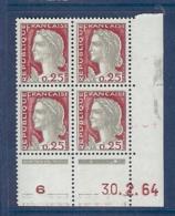 N° 1263 MARIANNE DECARIS COIN DATE ERREUR DE DATE DU 30/02/64 ** - Coins Datés