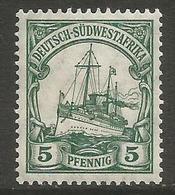 German SW Africa - 1906 Kaiser's Yacht 5pf MH *   Mi 25  Sc 27 - Colony: German South West Africa
