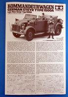 INSTRUCTIONS TAMIYA  KOMMANDEURWAGEN GERMAN STEYR TYPE 1500A 1/35 - Chars