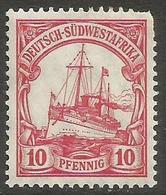 German SW Africa - 1906 Kaiser's Yacht 10pf MH *   Mi 26  Sc 28 - Colony: German South West Africa