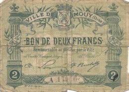 BILLET CHAMBRE DE COMMERCE - VILLE DE MOUY (OISE)  BON DE DEUX FRANCS  1916 - Chambre De Commerce