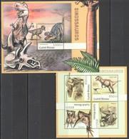 R292 2012 GUINE GUINEA-BISSAU FAUNA PREHISTORIC DINOSAURS DINOSAUROS KB+BL MNH - Stamps
