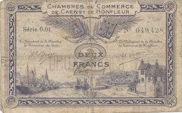 BILLET CHAMBRE DE COMMERCE -  DE CAEN ET DE HONFLEUR  DEUX FRANCS  1920 - - Camera Di Commercio