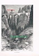 018 Sächsische Schweiz Bastei Pribischtor 2 Holzstiche Ca. 1880 !!! - Estampes