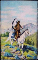 Cpa INDIENS , CHEF INDIEN à CHEVAL Coiffe De Guerre  Fusil  , L.H LARSEN 1938 , CHIEF INDIAN On HORSE A/s Old Pc - Native Americans