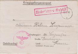LETTRE PRISONNIER  19-12--40 STALAG GEPRUFT 29  Destination CAZOULES DORDOGNE 24 .  CACHET - Oorlog 1939-45