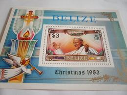 Miniature Sheet Perf Christmas 1983 Pope John Paul - Belize (1973-...)